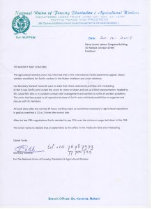 Letter of National Union
