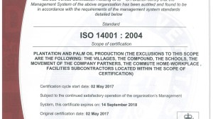Socfin Agricultural Company is proud to be certified ISO 14001